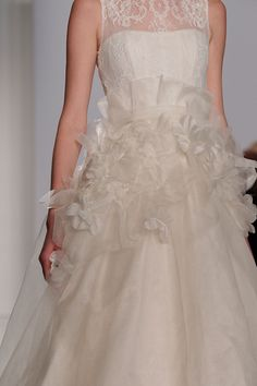 """Alaina""Amsale Fall 2015 - Textured silk organza ballgown with corded lace bodice and silk flower applique on skirt"