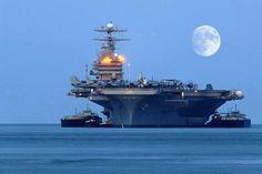 A great view of a Nimitz class aircraft carrier