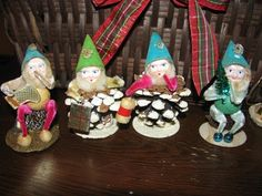 Christmas 1950's Japan Chenille Pinecone Elves Gnome Figures