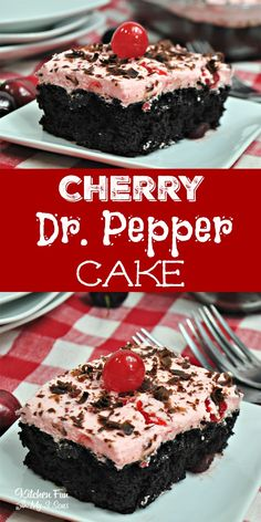 I adore this Cherry Dr Pepper Cake. My favorite soda in the world is Dr. Pepper and when you put it together with chocolate I am all in. Take your favorite boxed chocolate cake mix and add in the rest for this delicious recipe. Cake Mix And Soda, Soda Cake, 13 Desserts, Delicious Desserts, Dessert Recipes, Recipes For Cakes, Recipes Dinner, Cherry Desserts, Food Cakes