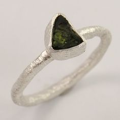 925 Sterling Silver Jewelry Natural GREEN TOURMALINE Gemstone Ring Size US 5.25 #Unbranded