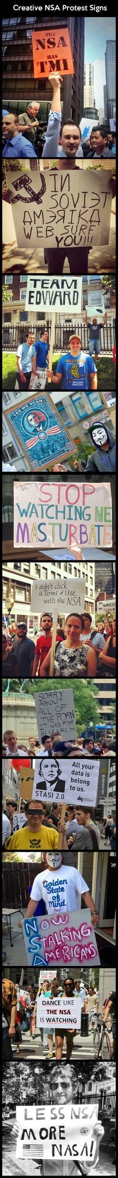Creative NSA Protest Signs