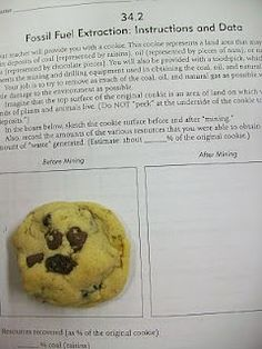 fossil fuel extraction cookies. This would be good for upper elementary/middle school science!