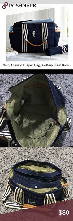 Pottery Barn Kids Navy Diaper Bag! Pottery Barn Kids Navy Diaper Bag! Lightly lightly used! Perfect condition. Has a monogrammed 'A' on the front of it. 💙 price is firm. Retails for $150 Pottery Barn Kids Bags Baby Bags