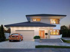 Projekt domu piętrowego Karat 2 o pow. 162,51 m2 z obszernym garażem, z dachem kopertowym, z tarasem, sprawdź! Home Fashion, Villa, House Styles, Outdoor Decor, Home Decor, House, Projects, Room Decor, Home Interior Design