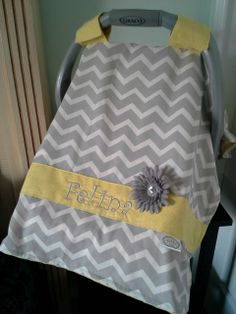 Gray and White chevron with yellow minky and trim.  Customized for a customer from Peek-a-Boo Covers.
