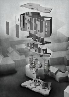 The ArchitectuExploded Perspective by Ewan Hooper Roof Folded Casing Interior Planar Structure Atriums Anchor Circulation Eroded Plinth ral Review's Folio