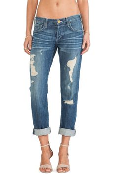 "The white stitching looks new and fresh on these ""old"" destroyed boyfriends. True Religion $198 