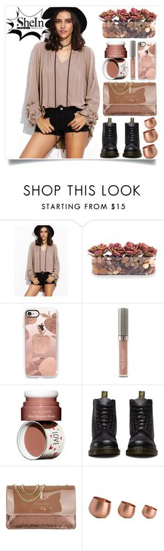 """""""SheIn"""" by itsybitsy62 ❤ liked on Polyvore featuring John-Richard, Casetify, Juice Beauty, Clarins, Dr. Martens, Patrizia Pepe and Arteriors"""