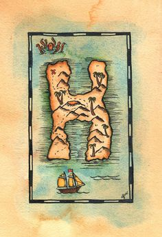 READY-TO-SHIP Letter H Treasure Map / 5 x 7 by paintandink on Etsy
