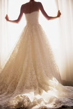 lace gown with train.