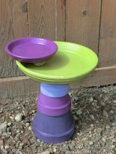 Flower Pot Bird Bath - put bird bath so the birds will keep insects away for you!
