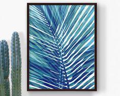 Printable Blue Palm Tropical Leaf Print, Palm Leaf, Navy Blue Botanical Leaf, Summer Art, Beach Nursery Art, Modern Art, Digital Print by RepublicaDeCali on Etsy https://www.etsy.com/listing/238450700/printable-blue-palm-tropical-leaf-print