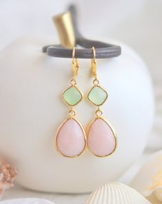 Soft Peach and Mint Bridemaid Earrings in Gold. by RusticGem