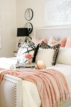 Cozy up on this modern bed for autumn! Pink, leopard, and faux fur for autumn! Welcoming Fall Home Tour 2017 - Glam Fall Bedroom - Randi Garrett Design Glam Master Bedroom, Fall Bedroom, Diy Home Decor Bedroom, Woman Bedroom, Small Room Bedroom, Bedroom Furniture, Bedroom Ideas, Bedroom Inspiration, Cheetah Bedroom Decor