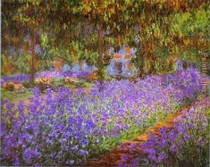 Claude Monet Irises in Monet's Garden gold frame No: r1315 Size: 19 in. x 16 in. Frame: FN17 Wide: 2.4 inch Price: 76.13 USD Packed in a crate. NO RISK..closet side of bed
