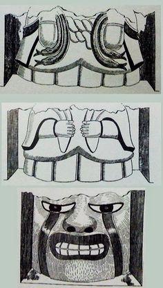 20/ PÉRIODE FORMATIVE ANCIENNE / MOJEQUE. Dibujos del equipo de Tello sobre algunas de las imágenes de Moxeque. Las dos primeras son  torsos de personajes. La tercera es un rostro gigante. Se sabe que las líneas bajo los ojos eran originalmente rojas.