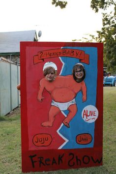 great idea for carn-evil theme; make series of sideshow photo ops | Juju and Jahi.
