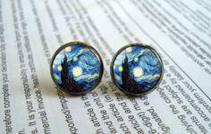 Van Gogh Starry Night Earrings stud post earrings by EarringWorld1, $7.00