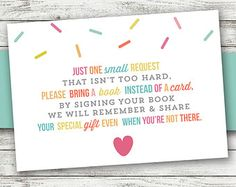 Bring a Book Instead of a Card - Bring a Book Baby Shower Insert - Printable