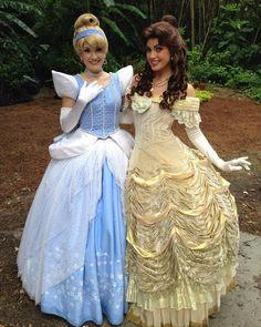 Cinderella and Belle Disney Princesses And Princes, Disney Princess Dresses, Princess Belle, Disney Dresses, Disney Day, Disney Girls, Disney Love, Walt Disney, Cinderella Halloween Costume