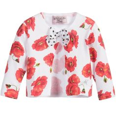 Monnalisa Bebe - Baby Girl Poppy Long Sleeve Jacket With Bow, Red
