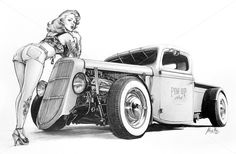 "Hot Rod Pin-Ups ""Hot Rod Pin Up"" - pencil on paper by Mad Mac - Pinupart.it Illustrator/artist specialized in paintings and digital art: Classic and Modern Pin-Up, Hot Rod, Kustom Kulture, Cafè Race and Surf Art! #pinups #pinup #girl #drawings #vintage #hotrod #kustomkulture #art #car #pencil #handmade #hot #rod"