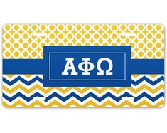 Aluminum x License Plate. 4 mounting slots for easy mounting. Alpha Phi Omega, Kappa Alpha Theta, Sigma Tau, Sorority Gifts, Comfort Colors, Abstract Shapes, Fraternity, Monitor, Plates