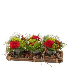 Woodland Trio: A wood tray holds three vases of green hydrangea, red carnations and babies' breath. About long. Really pretty! Artificial Floral Arrangements, Christmas Floral Arrangements, Red Carnation, Green Hydrangea, Babies Breath, Wood Tray, Carnations, Vases, Woodland