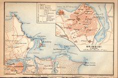 1908 Brindisi Italy Antique City Map Apulia Puglia by Craftissimo, €16.95