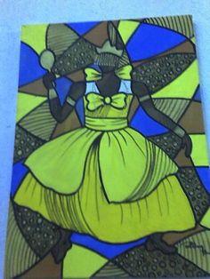 Oxun acrílico s/tela 70x50 pintado por Bianca Branco