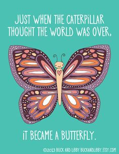 Butterfly Quote Frameable Illustration Print by Buck and Libby Teal Purple Orange and Pink