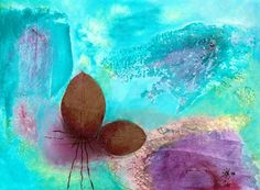 Blätter auf Türkis Acryl/ Collage auf Leinwand