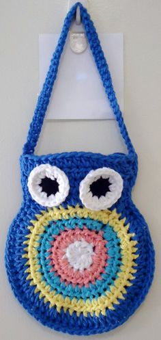 Crocheted  Blue Owl Bag by smhcrafts on Etsy, $12.00