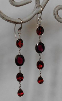 Garnet Sterling Silver Dangle Earrings by PrettyRockShop on Etsy, $120.00