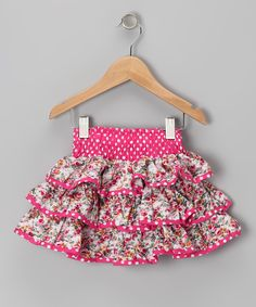 Pink Polka Dot Floral Ruffle Skirt - Toddler & Girls