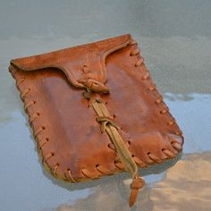 Vintage hand made Leather Pouch, Hippie Belt pouch hand made