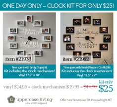 Our clock is on sale for ONE DAY ONLY....TODAY...November 20th! You pick the color for vinyl! Clock mechanism included. Frames are not. Grab those online from IKEA! #ULClocks #uppercaseliving #clocks #clockswithframes