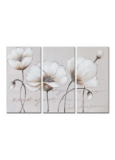 Set Of 3 White Floral Hand Painted Canvas