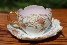 Very Cool CFH GDM Limoges Floral Gold Spider Web Ornate Cup Saucer Signed