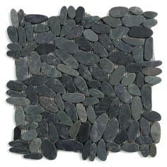 Solistone Kuala Komodo Black 12 in. x 12 in. x 12.7 mm Pebble Mesh-Mounted Mosaic Floor and Wall Tile (10 sq. ft. / case)