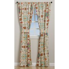 Greenland Home Fashions Esprit Spice 84-inch Curtain Panel Pair ($38) ❤ liked on Polyvore featuring home, home decor, window treatments, curtains, rod pocket window panel, striped window panels, striped window curtains and window panels