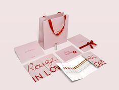 LANCOME - Rouge in Love Press Kit Cosmetic Packaging, Brand Packaging, Box Packaging, Packaging Design, Branding Design, Logo Design, Paper Bag Design, Online Shopping Quotes, Leaflet Design