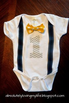 Loving Life: No- Sew DIY First Birthday Onesies - Bow Tie and Suspenders