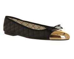 Office Vivienne Metal Toe Cap Ballerina Black Leather - Flats