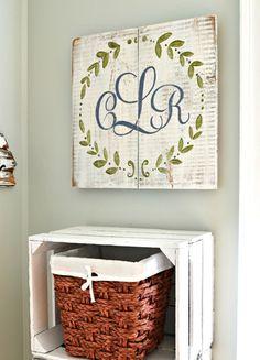 Monogram Wreath Wood Sign {customizable}