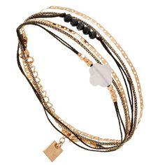 Bracelet multi-tour trèfle et chaine, Zag bijoux (rose) - Bijoux Fantaisie Créateurs