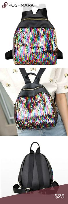 Colorful Sequins Backpack Material: Sequins Lining material: Polyester cotton(Lining Material Color Random) Size: Approx. 220x260x75mm/8.66x10.23x2.95in Net weight: approx.225g Type: Backpack Shape: Vertical Square Hardness: Soft Style: BlingBling Sequins Strap: Adjustable Brand new no tag Bags Backpacks