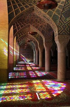 Into the Mosque. Nasir-ol-Molk Mosque, Shiraz, Iran By Rowan Castle - LOVE the reflection of the stained glass on the floor!