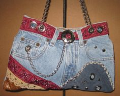 Jeans purse metal chain handles blue denim fully by Malustyleshop, $95.00